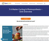 7.4 Matter Cycling & Photosynthesis - Unit Overview